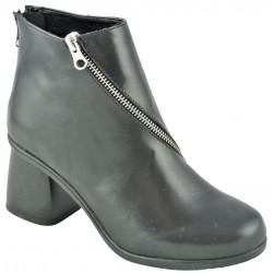 černá kožená kotníková obuv na širokém podpatku Gido Bella02