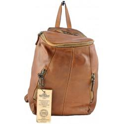 hnědý kožený italský luxusní batoh Bayside BS362