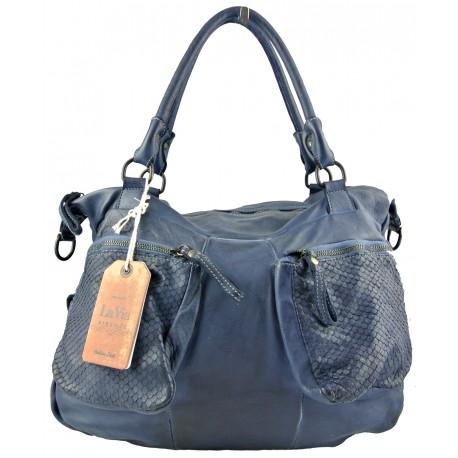 tmavě modrá kožená italská luxusní kabelka La Via V007