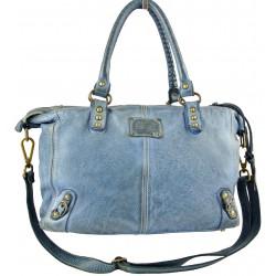 modrá kožená italská luxusní kabelka Bayside BS198mini rock