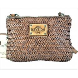 hnědá kožená italská luxusní pletená crossbody kabelka Bayside BS567