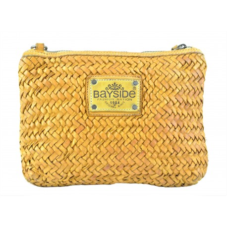 žlutá kožená italská luxusní pletená crossbody kabelka Bayside BS567