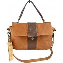 hnědá kožená italská luxusní kabelka Bayside BS560