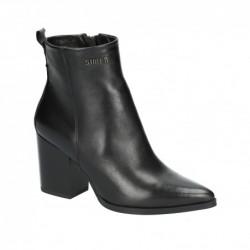 černá kožená kotníková obuv na širokém podpatku Simen 3205A