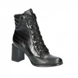 černá kožená kotníková obuv na širokém podpatku Simen 3300A