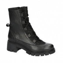 černé kožené stylové polokozačky Simen 3265A