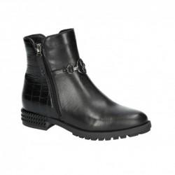 černá kožená kotníková obuv Simen 3311A