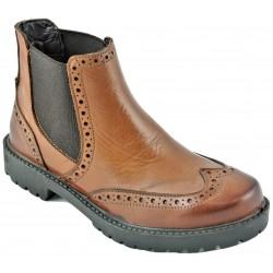 hnědá kožená kotníková obuv Gido 1189