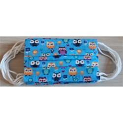 10 ks (9,50 Kč/kus)-dětské modré se sovami medicínské jednorázové certifikované roušky, vyrobeno v EU