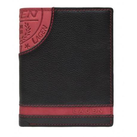 pánská černo-červená kožená peněženka LG-1813