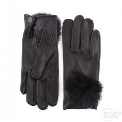 dámské černé kožené rukavice bez podšívky s králičí bambulkou Bohemia Gloves 7101