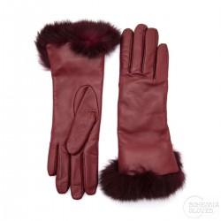 dámské vínové kožené rukavice s vlněnou podšívkou a králičí kožešinou Bohemia Gloves 4705