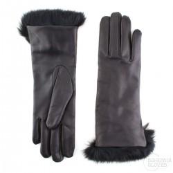 dámské černé kožené rukavice s vlněnou podšívkou a králičí kožešinou Bohemia Gloves 4705