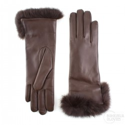 dámské tmavě hnědé kožené rukavice s vlněnou podšívkou a králičí kožešinou Bohemia Gloves 4705