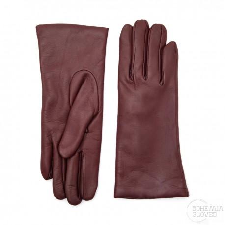 dámské bordó kožené rukavice s vlněnou podšívkou Bohemia Gloves 9656