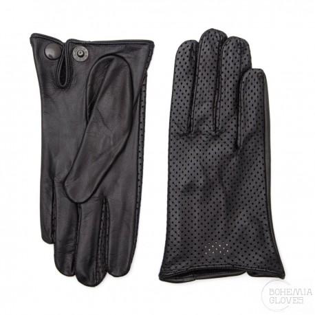 dámské černé kožené perforované rukavice bez podšívky Bohemia Gloves 6016