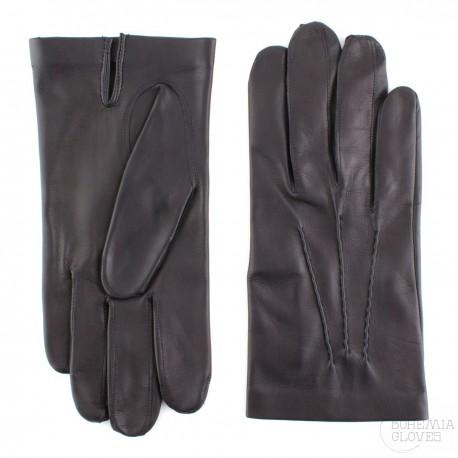 pánské černé kožené rukavice bez podšívky Bohemia Gloves 0327