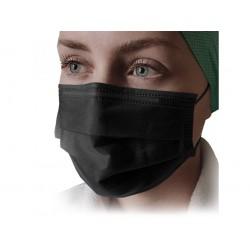 50 ks (7 Kč/kus)-černé medicínské jednorázové certifikované roušky, vyrobeno v EU