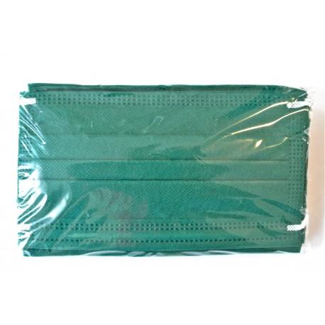 50 ks (7 Kč/kus)- tmavě zelené medicínské jednorázové certifikované roušky, vyrobeno v EU