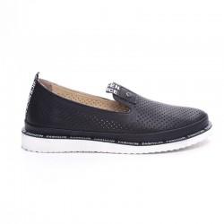 černá kožená slip-on obuv Mat Star 635022