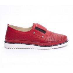 červená kožená slip-on obuv Mat Star 635021