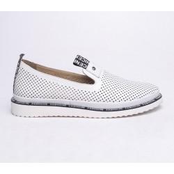 bílá kožená slip-on obuv Mat Star 635022
