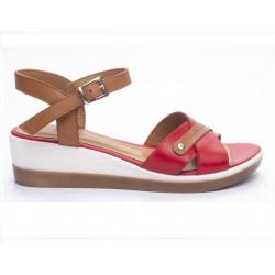 hnědo-červené kožené sandály na klínu Mat Star 631002