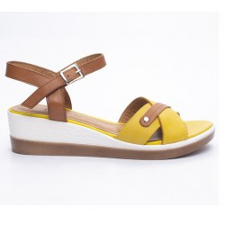 hnědo-žluté kožené sandály na klínu Mat Star 631002