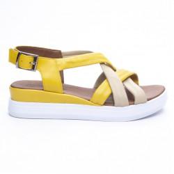 žluto-béžové kožené sandály na platformě Mat Star 635012