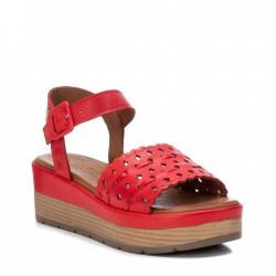 červené kožené sandálky na klínu Carmela 067820