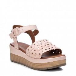 béžovo-růžové kožené sandálky na klínu Carmela 067820