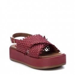 vínově červené kožené proplétané sandálky na platformě Carmela 67298