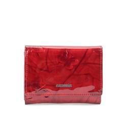 červená kožená dámská lakovaná peněženka s motýly P2106M
