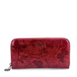 červená kožená dámská lakovaná peněženka s motýly P2111 M
