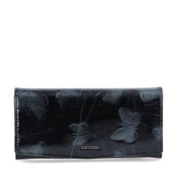 černá kožená dámská lakovaná peněženka s motýly P2109 M