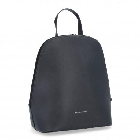 černý kožený elegantní batoh BS 0033