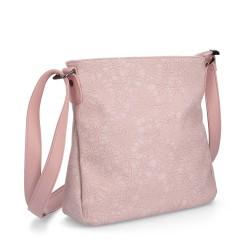 růžová crossbody kabelka  se vzorem krajky 4145