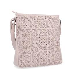 růžovo-fialová crossbody kabelka s perforací 6249