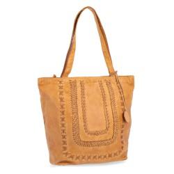 žlutá kožená kabelka s proplétáním BS 2085