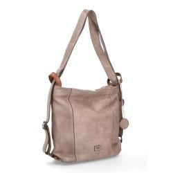 šedá kožená kabelka a batoh v jednom BS 2061