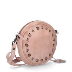 růžová kožená  crossbody kabelka s perforací BS 2076