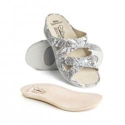 zdravotní šedé vzorované kožené pantofle BATZ Evelin