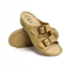 zdravotní béžové kožené pantofle BATZ FC02