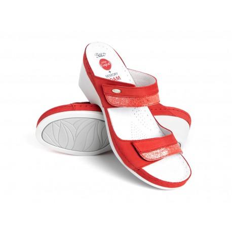zdravotní červené kožené pantofle BATZ Laura