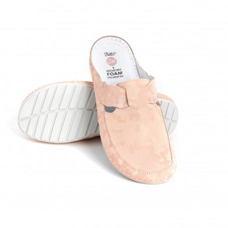 zdravotní růžové kožené pantofle s maskáčovým vzorem BATZ NLK
