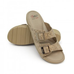 zdravotní béžové kožené pantofle s krokodýlým vzorem BATZ Prémium 2BCS
