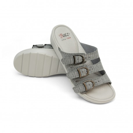 zdravotní šedé kožené pantofle se vzorem BATZ Prémium 3BCS