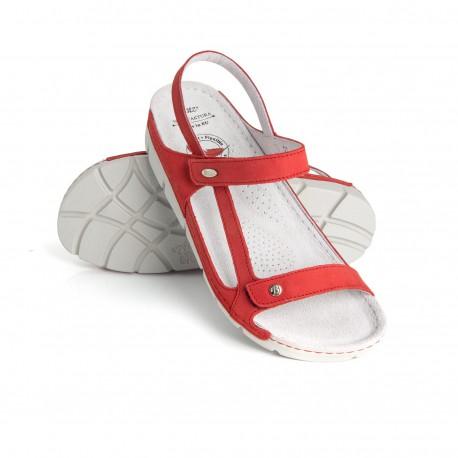 zdravotní červené kožené sandály BATZ Terka