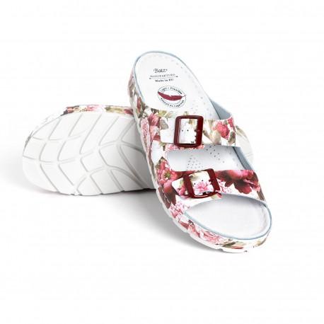 zdravotní bílé kožené pantofle s květinovým vzorem BATZ Zenna