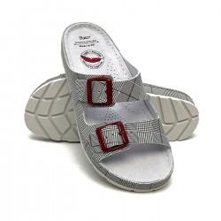 zdravotní šedé kožené pantofle s károvaným vzorem BATZ Zorka